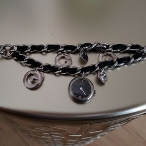 GUESS Watch-Stainless Steel+Leather Charm Bracelet